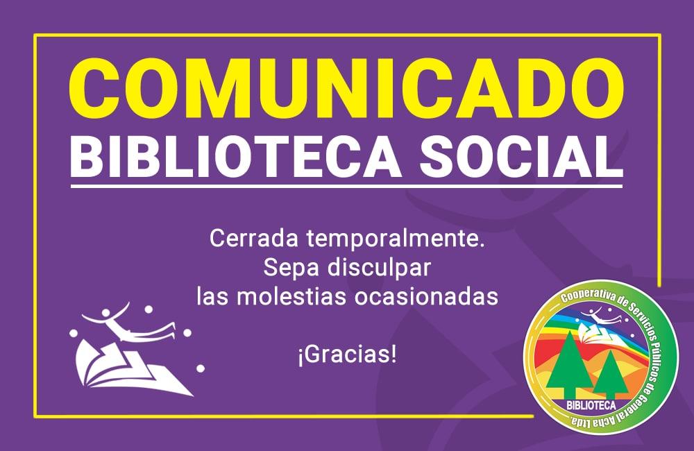 Comunicado de Biblioteca social de COSEGA
