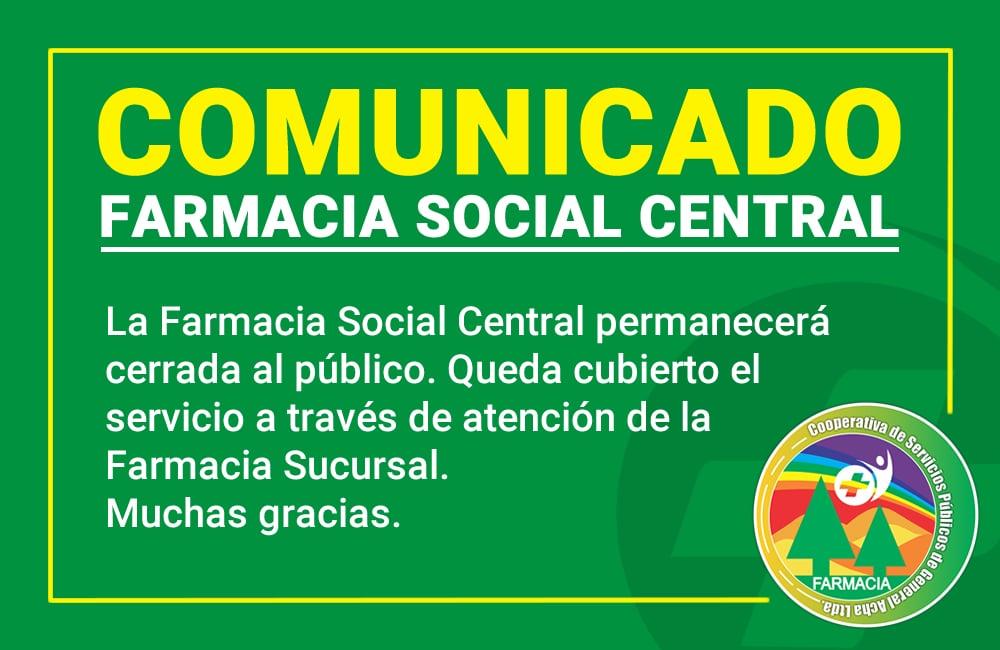 Comunicado de Farmacia social central de COSEGA