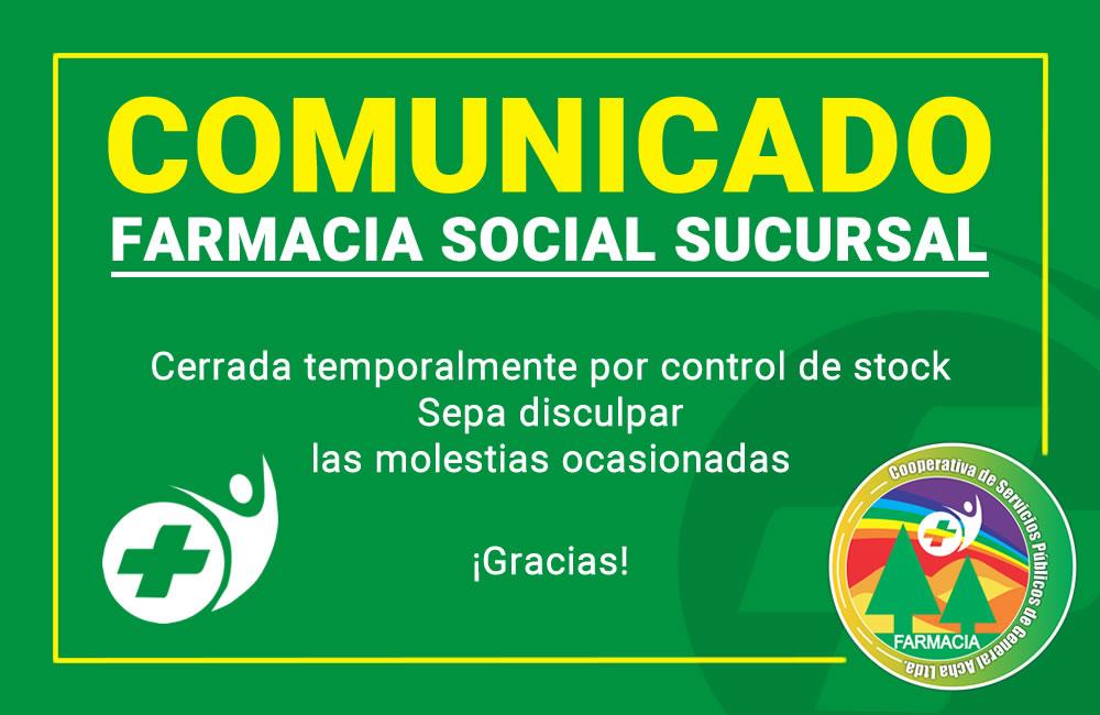 Comunicado de Farmacia social sucursal de COSEGA