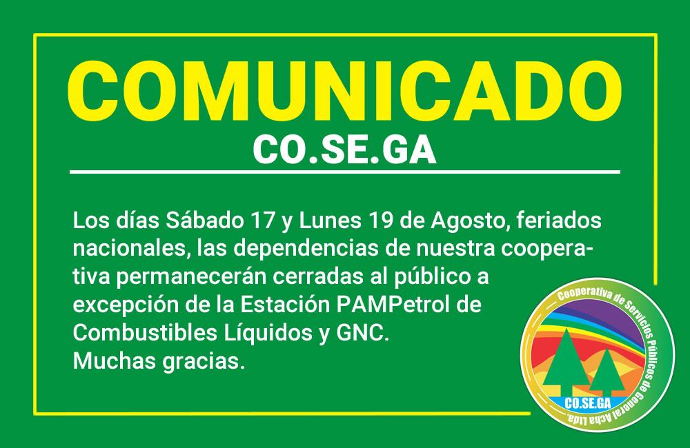 Comunicado: Feriados Sábado 17 y Lunes 19