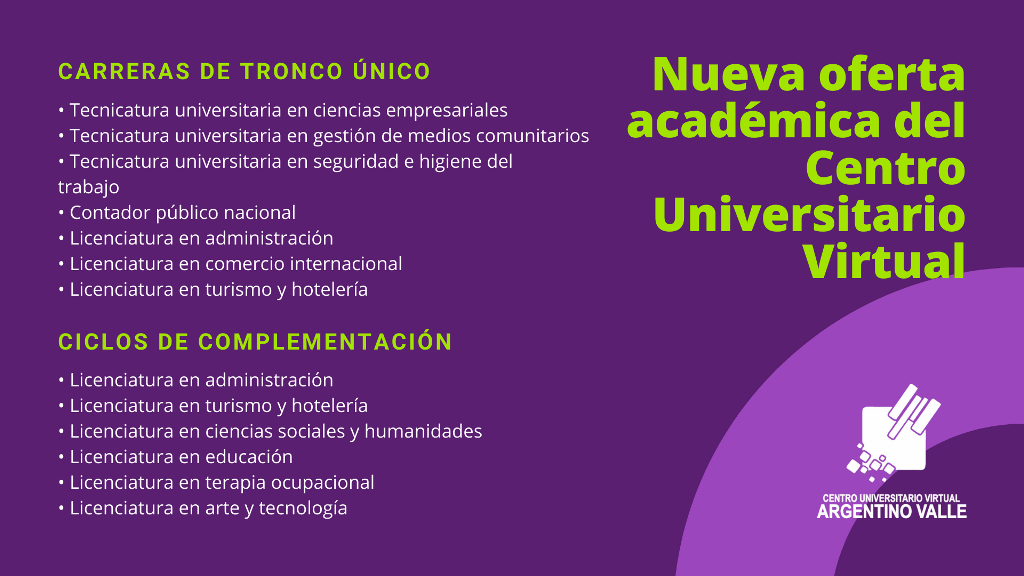 Oferta académica del Centro Universitario Virtual Argentino Valle