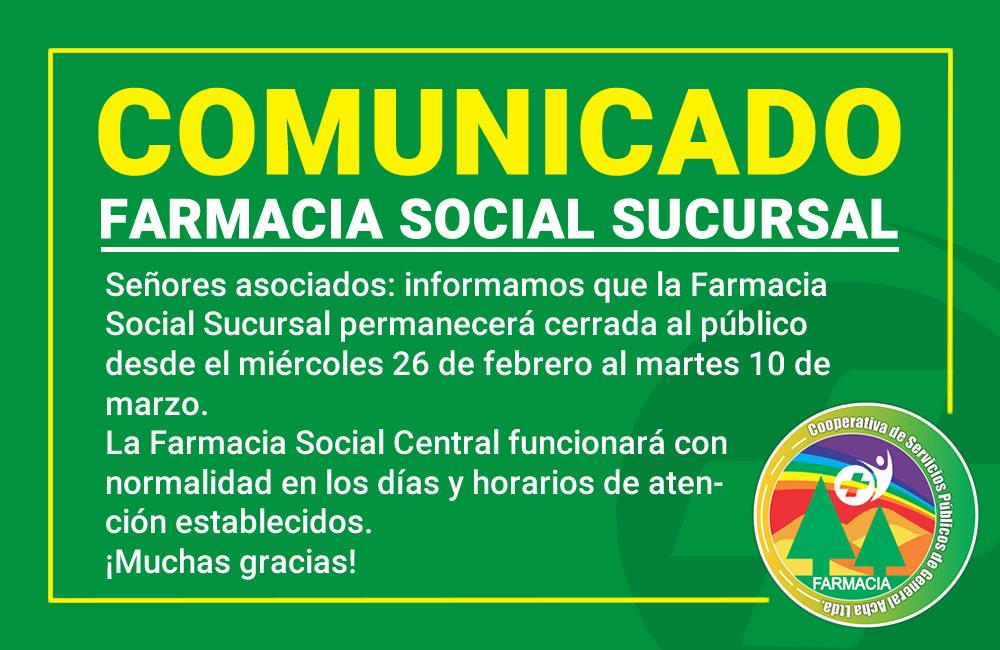Comunicado Farmacia Social Sucursal