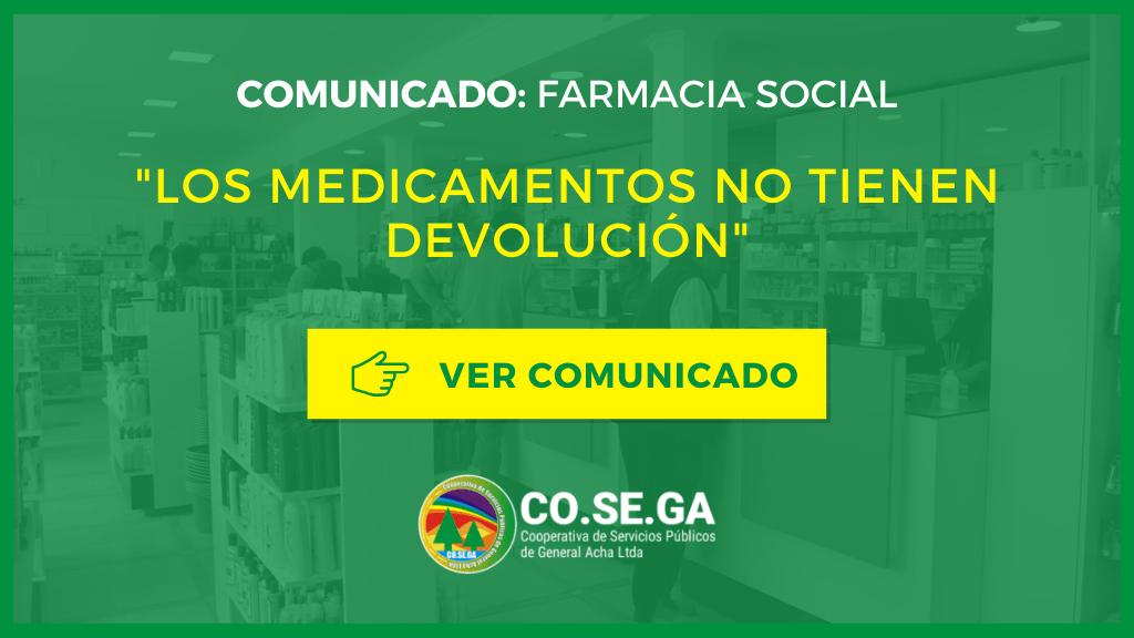 Comunicado: Farmacia Social