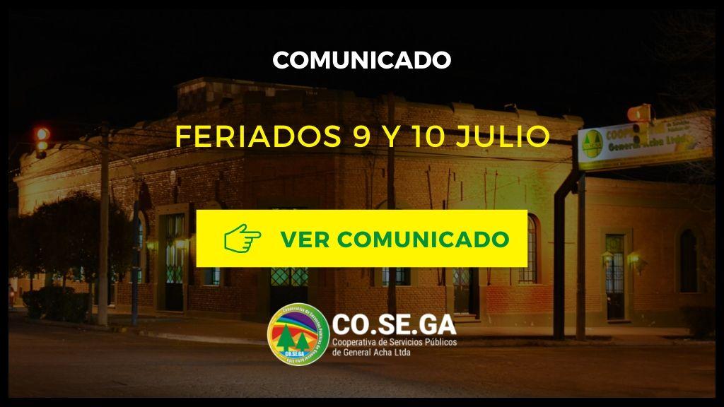 Comunicado: Feriados 9 y 10 Julio