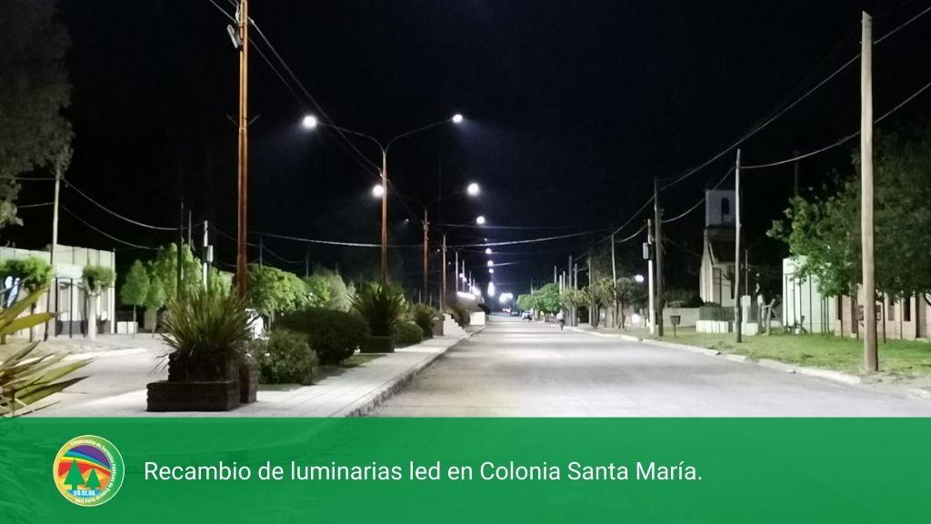 Recambio de luminarias led en Colonia Santa María