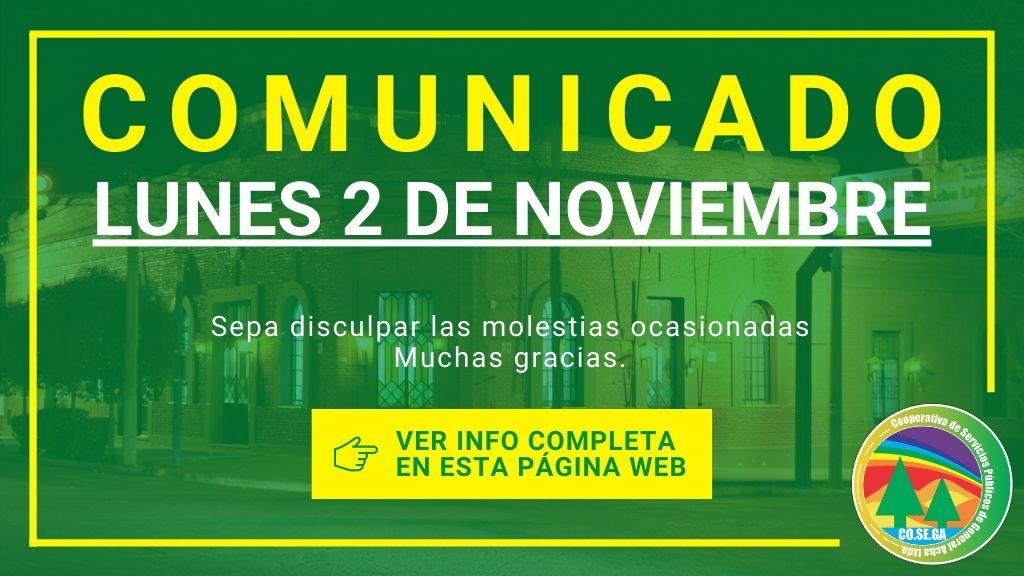 Comunicado: Lunes 2 de Noviembre