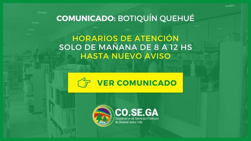 Comunicado Botiquín Quehué