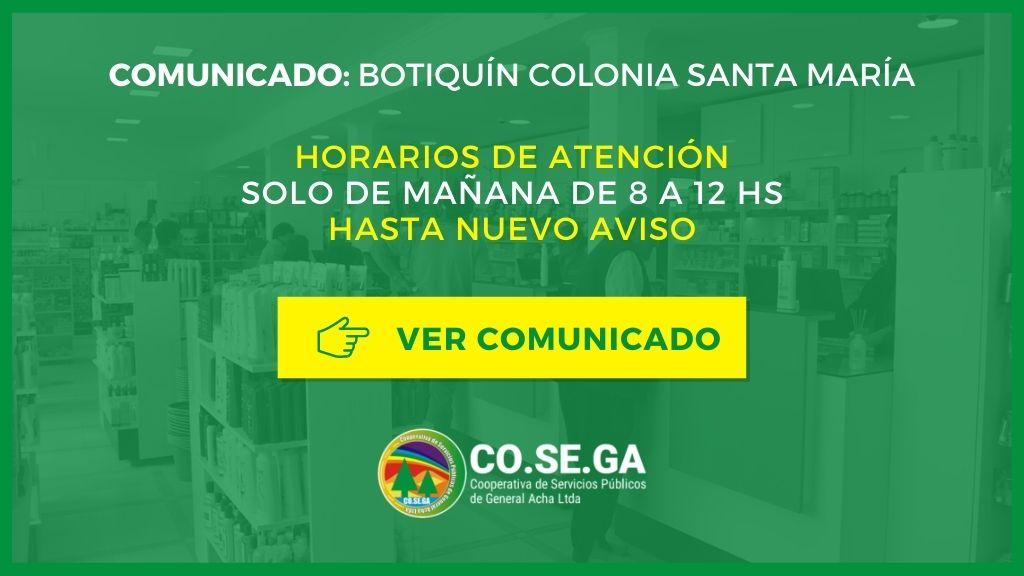 Comunicado Botiquín Colonia Santa María