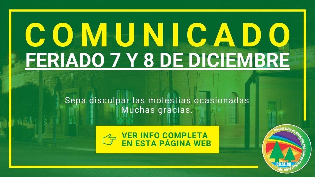 Comunicado: Feriado 7 y 8 de Diciembre