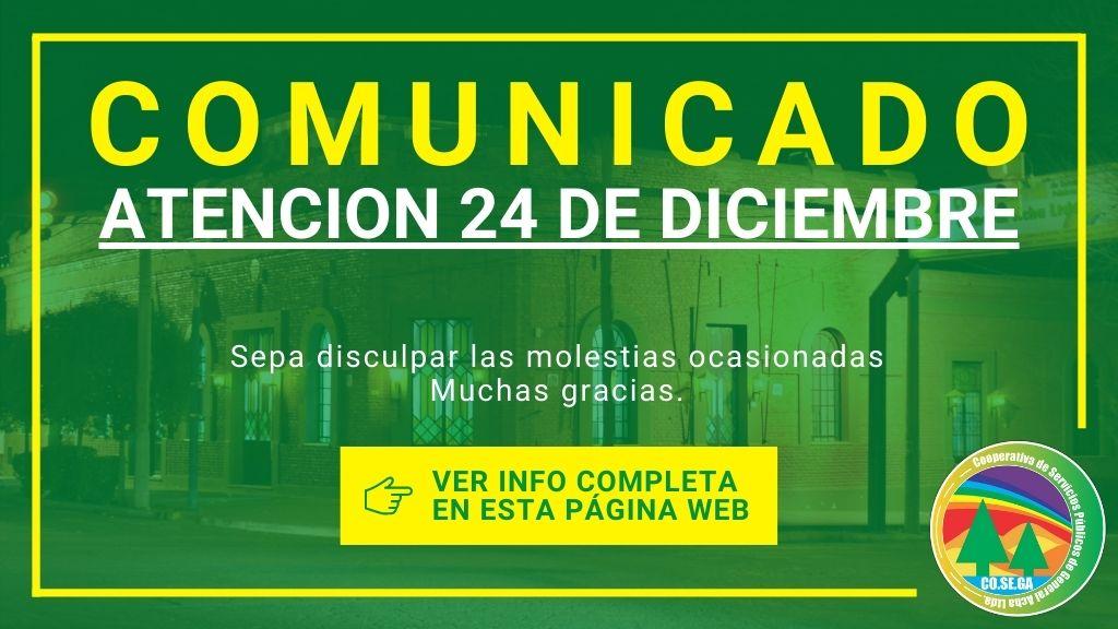 Comunicado: Atención 24 de Diciembre.