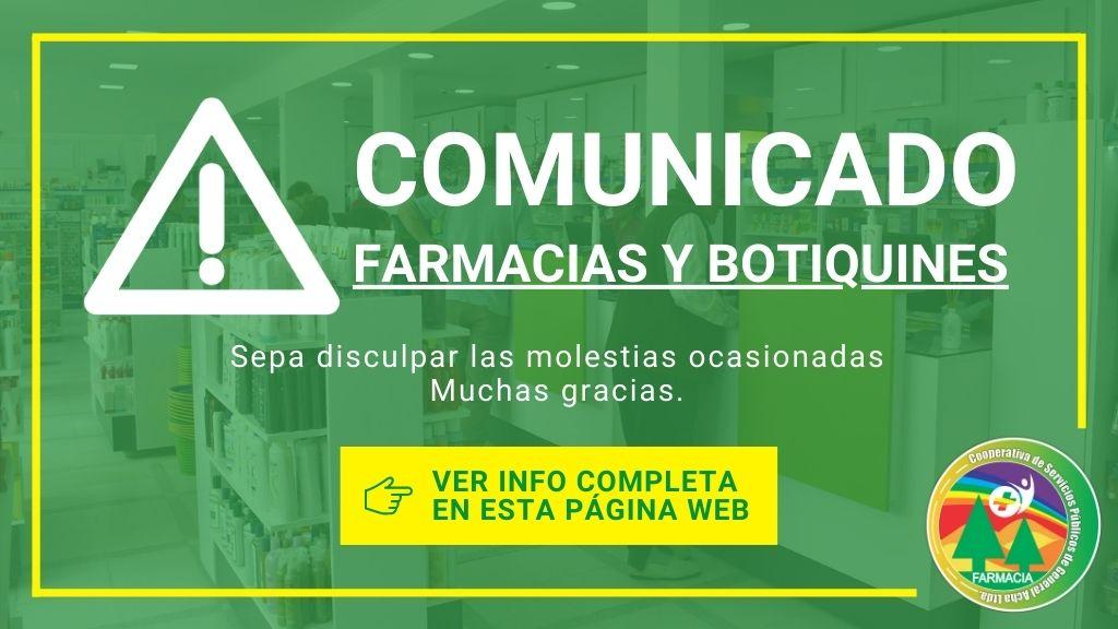 Comunicado: Horario Farmacias y Botiquines para el 31 de Diciembre