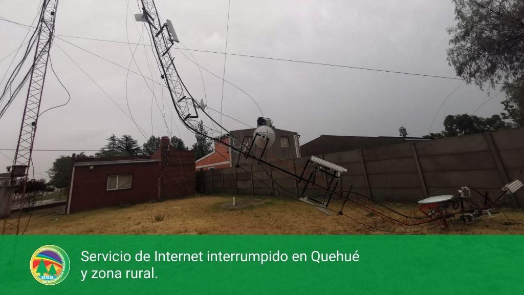 Servicio de Internet interrumpido en Quehué y zona rural.