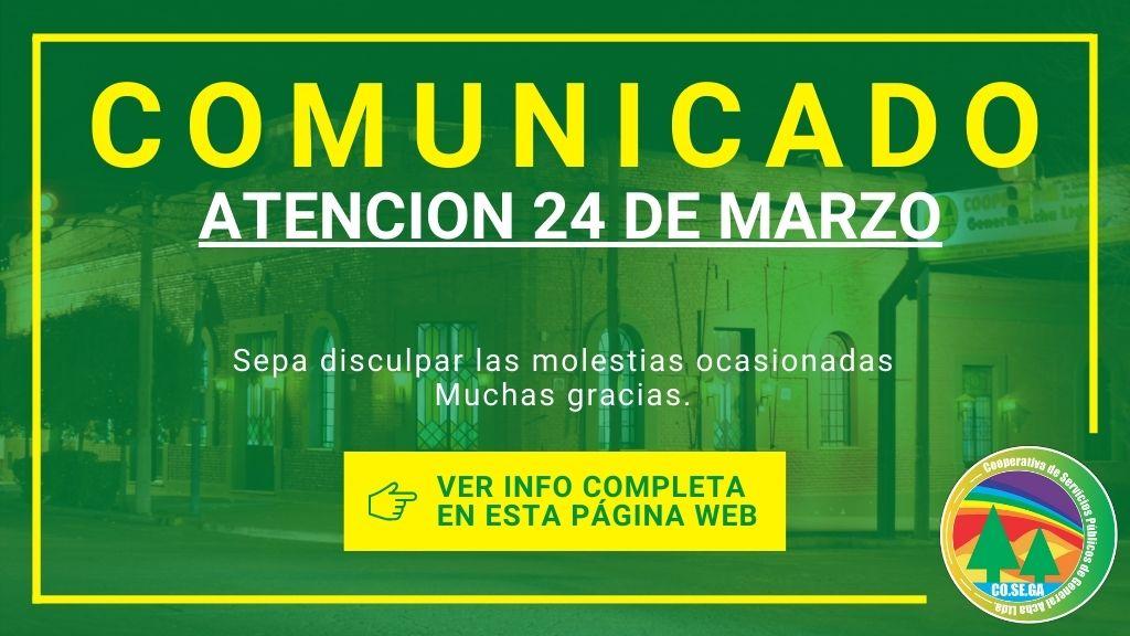 Comunicado: Atención 24 de Marzo.