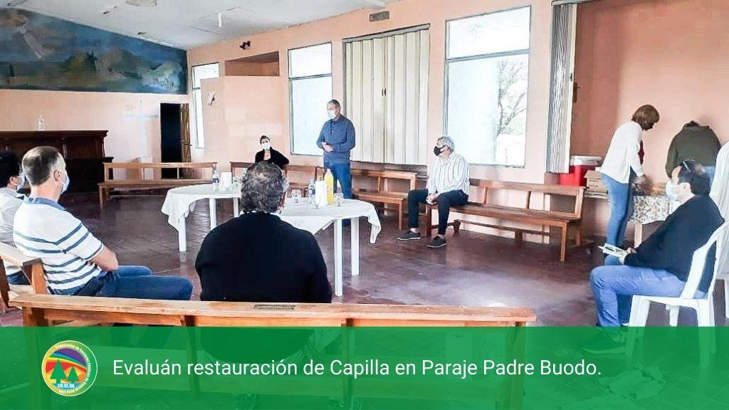 Evaluán restauración de Capilla en Paraje Padre Buodo.